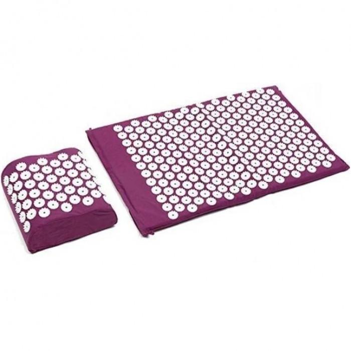 Акупунктурний масажний килимок з подушкою Фіолетовий