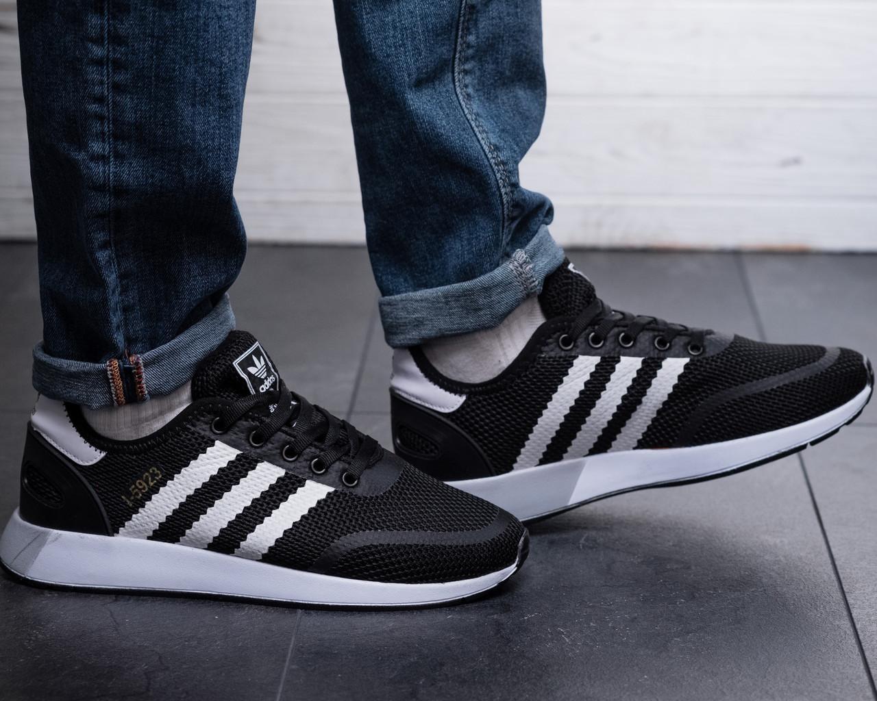 Чоловічі кросівки Adidas Чорні Сітка, Репліка