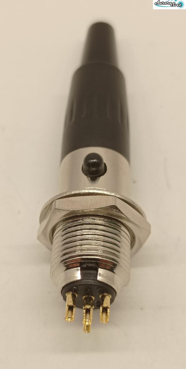 Разъем Mini XLR аудио 5-контактный для микрофона черный комплект вилка розетка под пайку