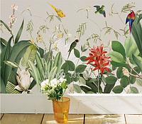 """Виниловая наклейка на стену, окна, шкафы, зеркала """"цветы, растения, попугаи"""" 42см*113см (лист 60см*90см)"""