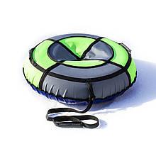 Тюбинг надувные санки ватрушка d 100 см серия Стандарт Серо - Неонового цвета для детей и взрослых