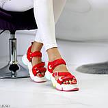 Босоножки спортивные женские красные эко кожа+ текстиль, фото 3
