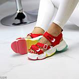 Босоножки спортивные женские красные эко кожа+ текстиль, фото 2