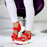 Босоножки спортивные женские красные эко кожа+ текстиль, фото 4