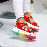 Босоножки спортивные женские красные эко кожа+ текстиль, фото 5