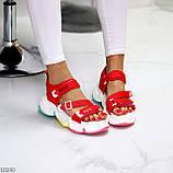 Босоножки спортивные женские красные эко кожа+ текстиль, фото 6