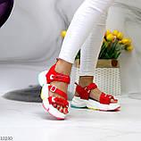 Босоножки спортивные женские красные эко кожа+ текстиль, фото 7