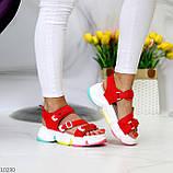 Босоножки спортивные женские красные эко кожа+ текстиль, фото 8