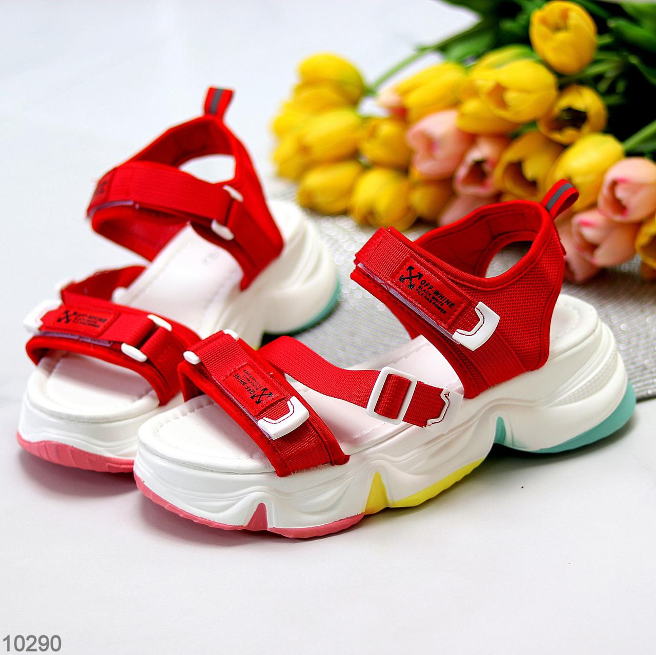Босоножки спортивные женские красные эко кожа+ текстиль