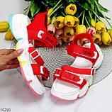 Босоножки спортивные женские красные эко кожа+ текстиль, фото 9