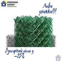 Сітка Рабиця металева зелена 35х35, діаметр 2.5 мм, висота 1.50 м, рулон 10 м
