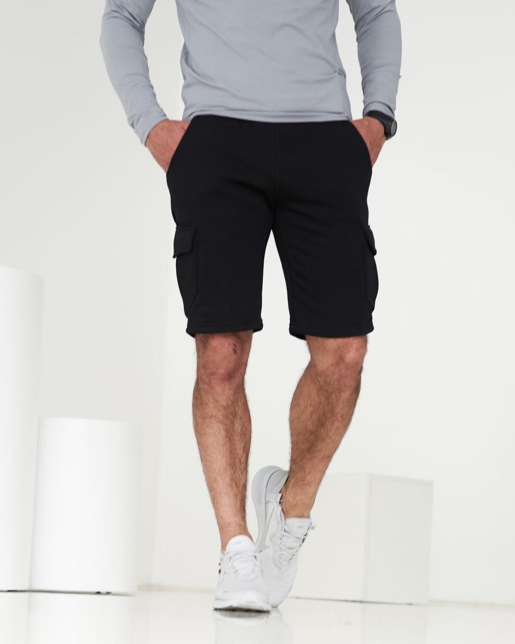Чоловічі трикотажні чорні шорти карго з кишенями / Чорні спортивні шорти, бриджі чоловічі