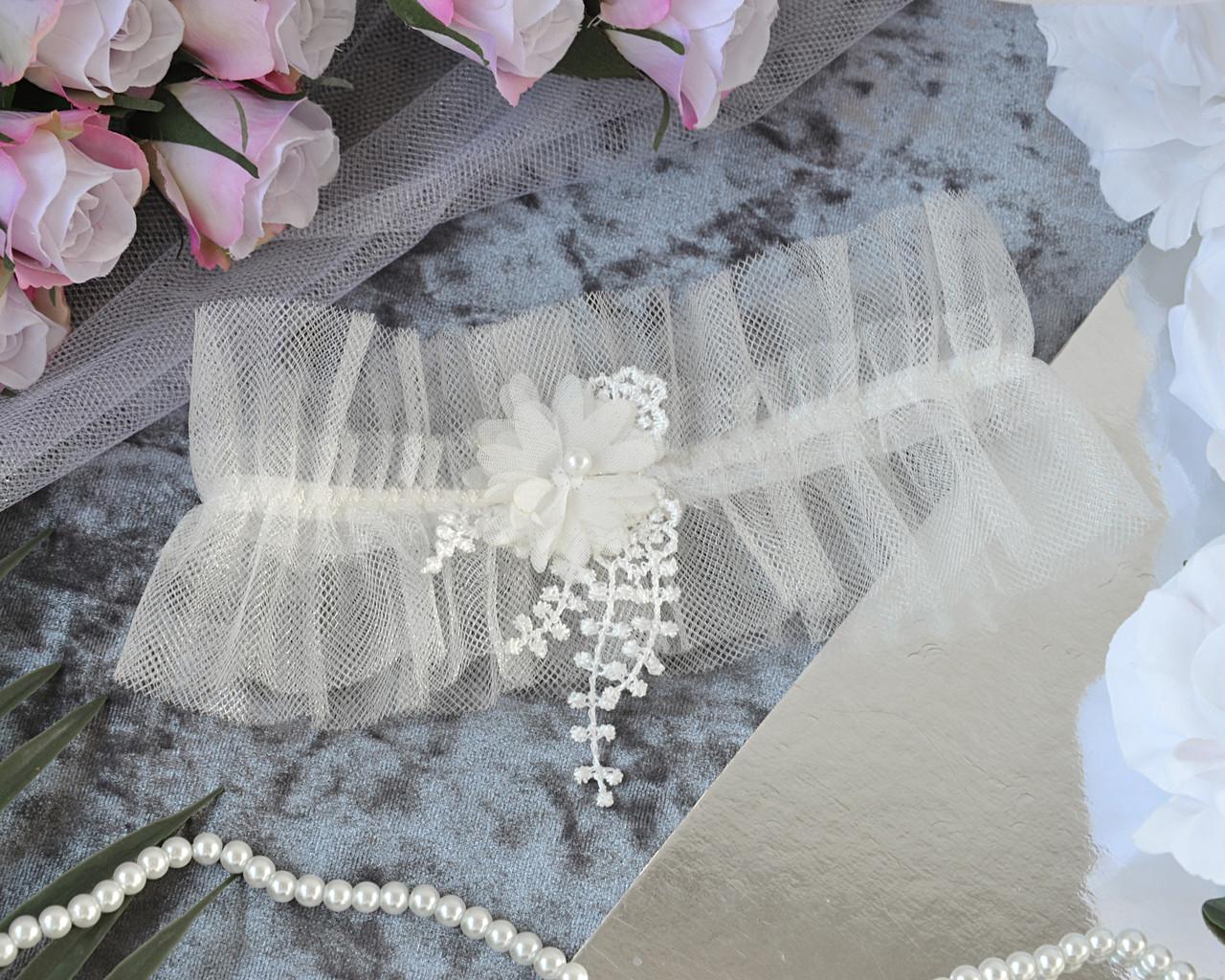 Свадебная подвязка на ногу для невесты, айвори
