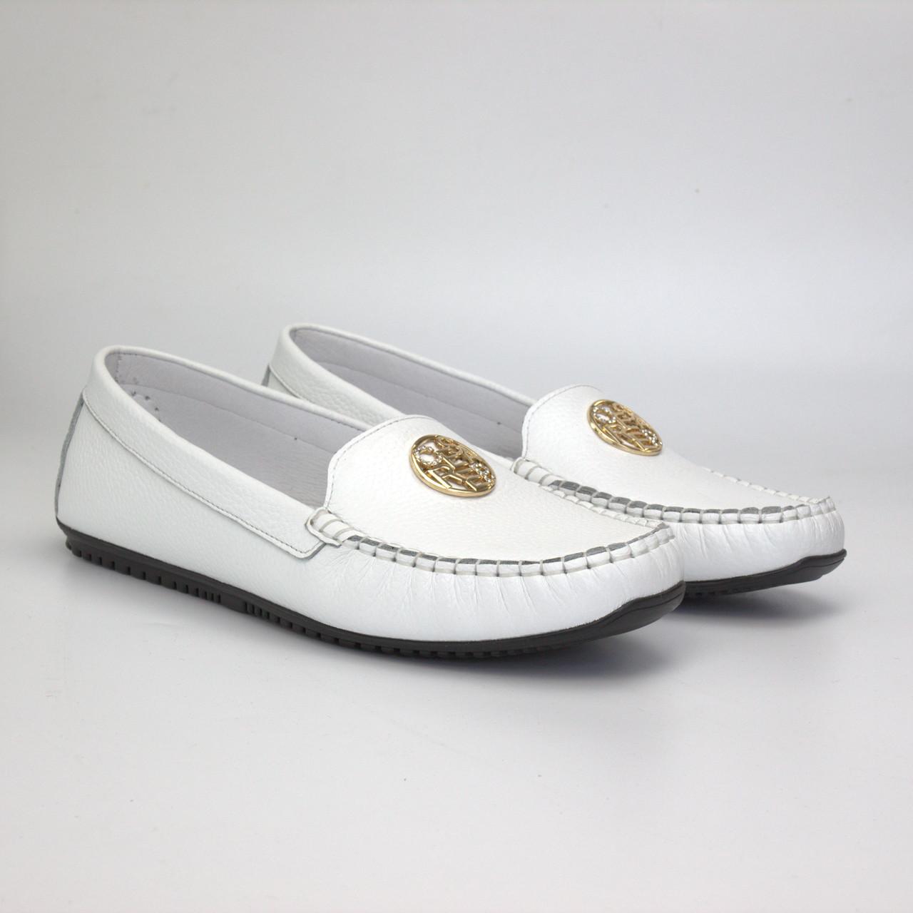Жіночі мокасини білі шкіра літнє взуття великих розмірів Ornella White Floto by Rosso Avangard BS