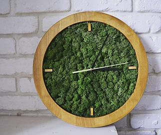 Дизайнерські настінні годинники з дерева в сірій рамі 25 см . Годинник з моху . Дерев'яні годинник їх моху