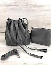 Молодежная сумка с косметичкой сумка шоппер сумка с косметичкой Aliri-231-31 серая 2 в 1