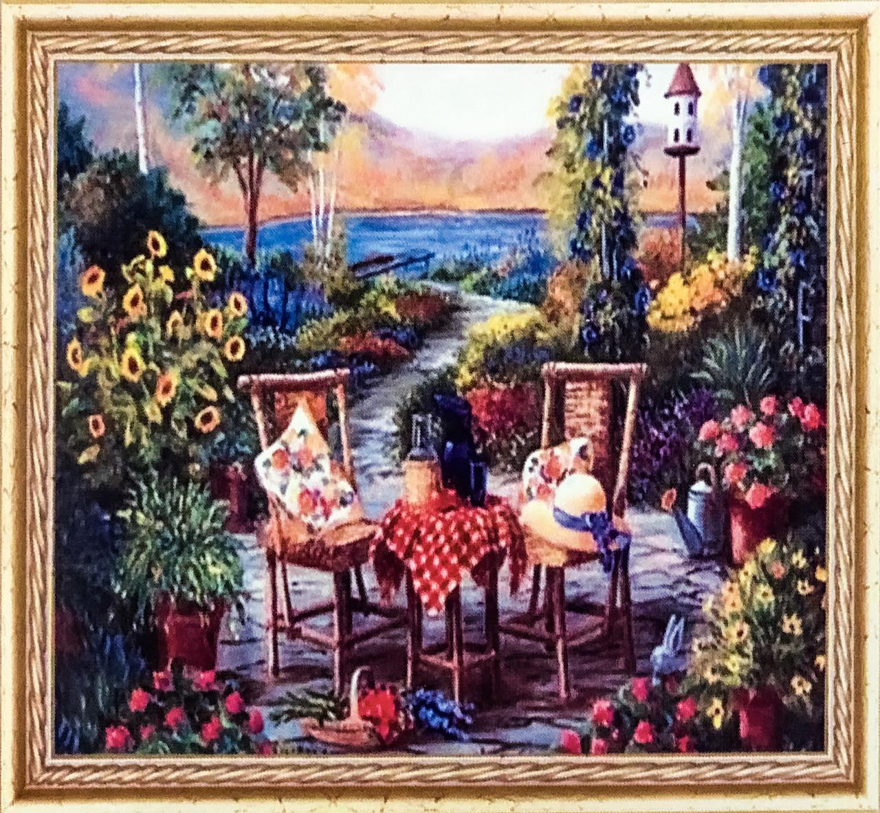 """Алмазна Мозаїка на підрамнику . Набір алмазної вишивки на підрамнику """"Вечір в саду"""". Розмір 30*20 див."""