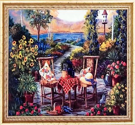 """Алмазна Мозаїка на підрамнику . Набір алмазної вишивки на підрамнику """"Вечір в саду"""". Розмір 30*20 див., фото 2"""