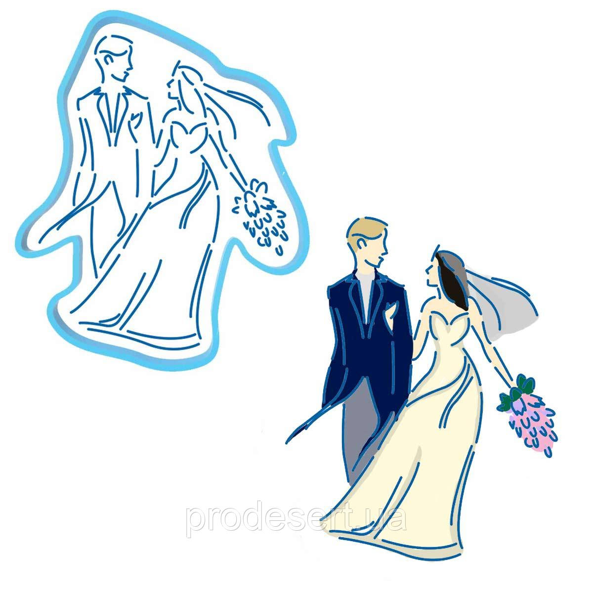 Свадьба пара вырубка с трафаретом 13*10,6 см (TR-2)
