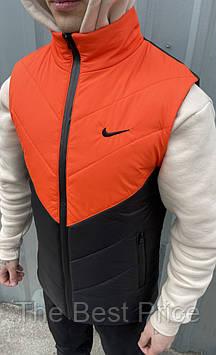 Жилетка мужская (оранжево - черная) найк Clip