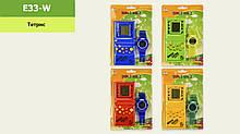 """Тетріс """"Brick Game"""" 4 кольори в наборі годинник на планшетці E33-W"""