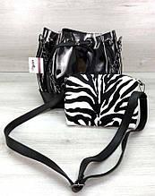Молодежная сумка с косметичкой сумка шоппер сумка с косметичкой Aliri-231-44 зебра 2 в 1