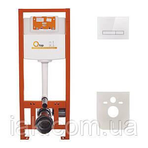 Інсталяція для унітазу Q-tap Nest комплект 4 в 1 з панеллю змиву PL M08GLWHI