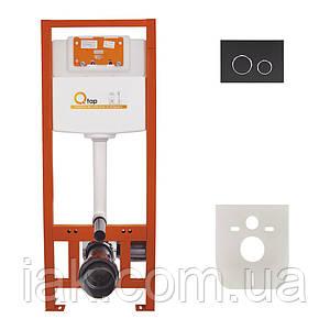 Інсталяція для унітазу Q-tap Nest комплект 4 в 1 з панеллю змиву PL M11MBLA
