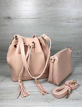 Стильная сумка шоппер сумка с косметичкой Aliri-231-20 розовая сумка с клатчем 2 в 1