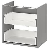IKEA ENHET Шафа під раковину з 2 висувними ящиками, сірий, 60x40x60 см (604.405.10)