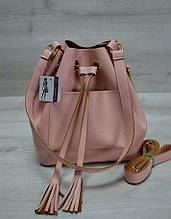 Молодежная сумка шоппер 2 в 1 сумка с клатчем розового цвета из эко-кожи Aliri-231-06