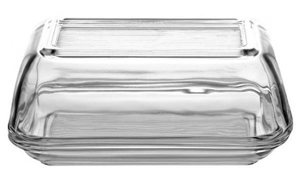 Масленка Luminarc Clear с крышкой длина 17 см, Масленица с крышкой, Прямоугольная стеклянная масленица