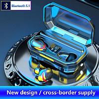 Беспроводные Bluetooth наушники M15 TWS Stereo. Индикатор заряда - LED Display. Power Bank