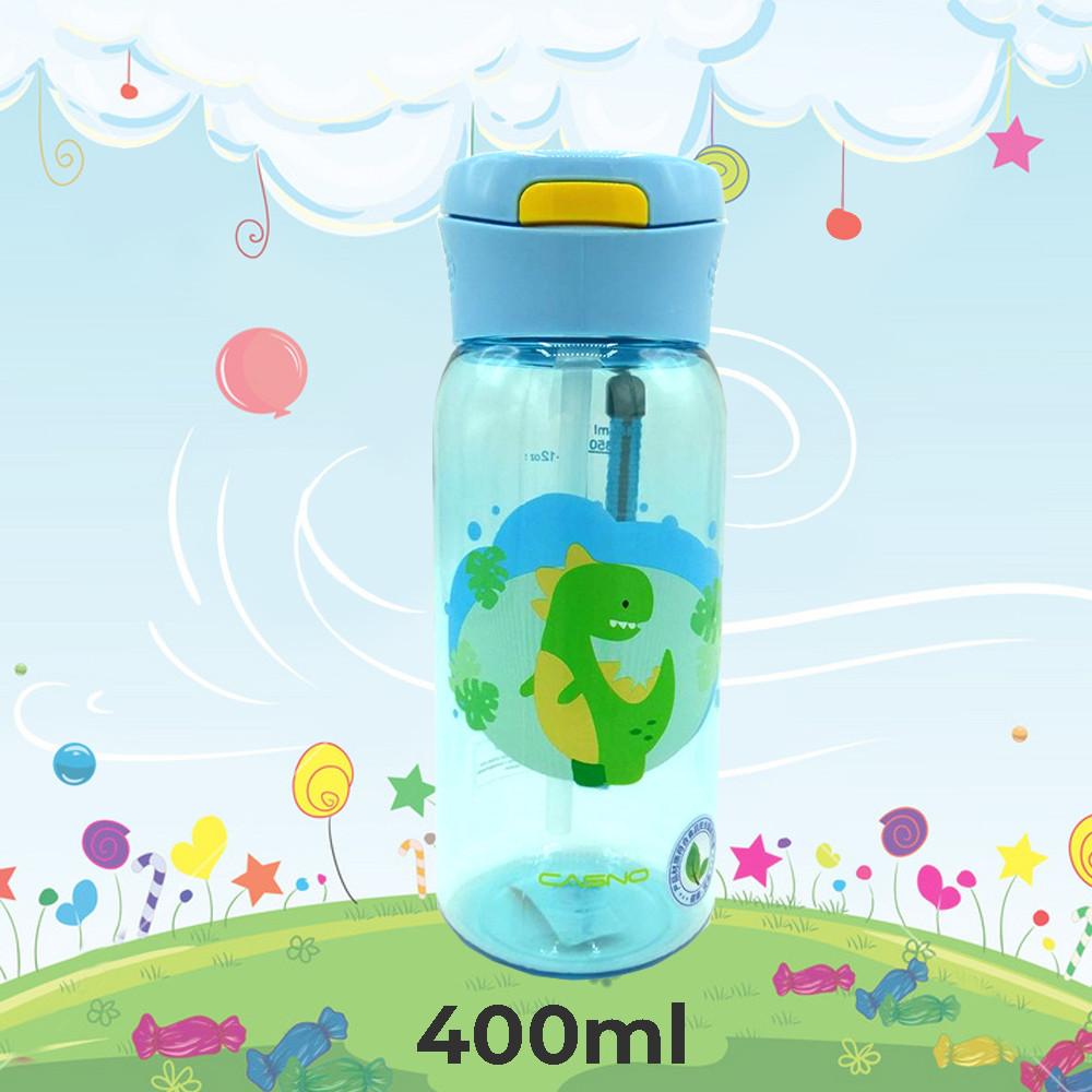 Пляшка для води CASNO 400 мл KXN-1195 Блакитна (Діно) з соломинкою