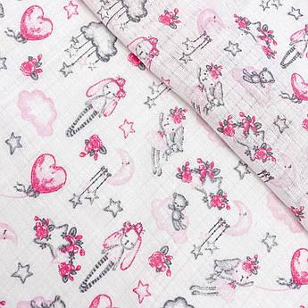 """Ткань хлопковая, муслин однослойный """"Зайчики серо-розовые воздушные"""""""