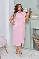 Женское ленное прямое платье батал, фото 1