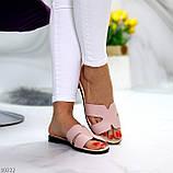 Шльопанці жіночі рожеві/ пудра натуральна шкіра, фото 4