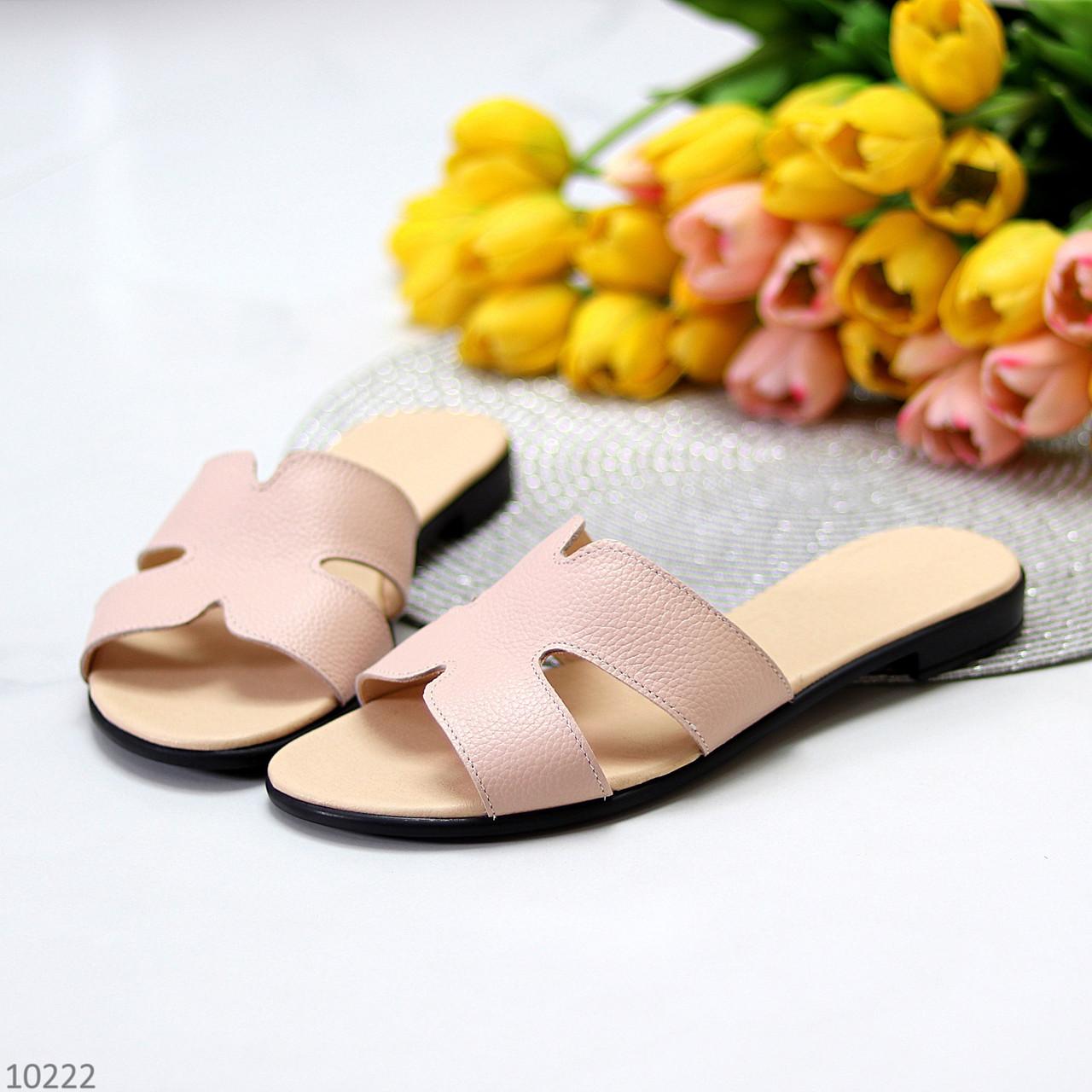Шлепанцы женские розовые/ пудра натуральная кожа
