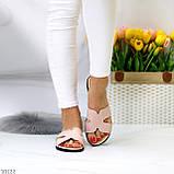 Шлепанцы женские розовые/ пудра натуральная кожа, фото 5
