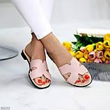 Шльопанці жіночі рожеві/ пудра натуральна шкіра, фото 7