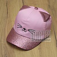 Детская 48-50 1- 3 года стильная летняя кепка бейсболка для девочки девочке тонкая на лето хлопок 6081 Розовый