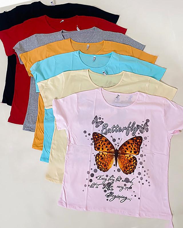 Футболка з яскравим метеликом великі розміри 50-60 (білий)