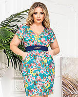 Новинка! Красиве легке плаття з квітковим принтом, батал, арт. А229, колір блакитний/квіти