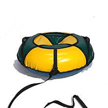 Тюбинг надувные санки ватрушка d 100 см серия Стандарт Зелено - Желтого цвета для детей и взрослых