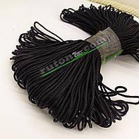 Чорний в'язаний рибальський шнур 3 мм 100м для в'язання гачком та виробів хендмей