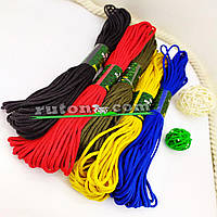 Кольоровий плетений шнур 3 мм 20м для в'язання гачком та виробів хендмей