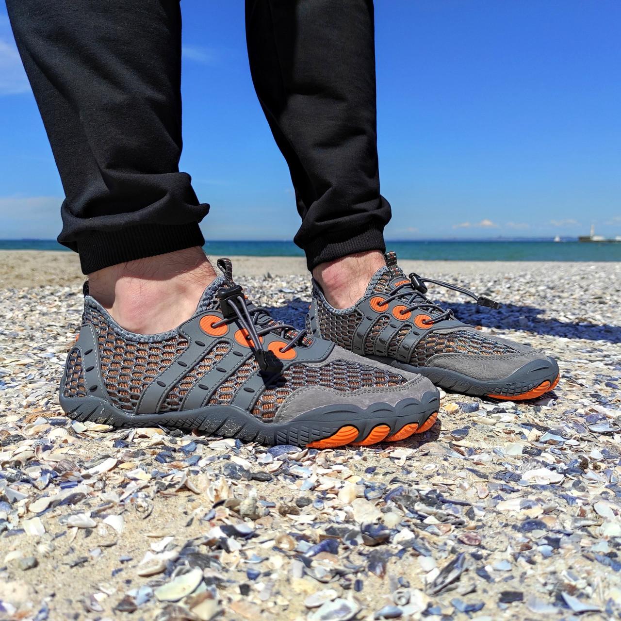 РОЗМІРИ 46, 47 Сірі аквашузи чоловічі і жіночі коралки аквавзуття шльопанці для моря аква взуття сліпони