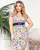 Новинка! Красиве легке плаття з квітковим принтом, батал, арт. А229, колір молочний/квіти