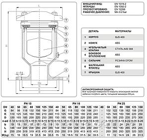 Вантуз воздушный фланцевый однокамерный T.I.S. (Италия) DN 40 PN 1,6, фото 2