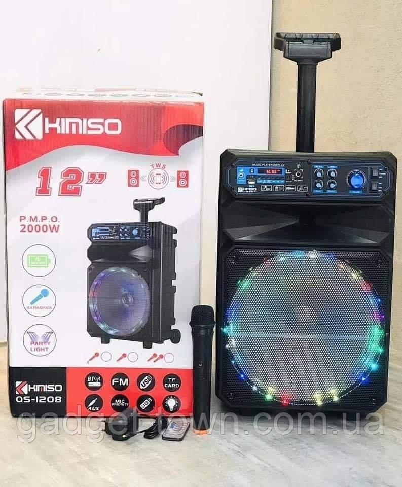 Акустична акумуляторна колонка з микрофоном12 дюймів (USB/FM/BT/LED) KIMISO QS-1208 BT